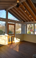 Open rafters, half wall, and twinkly lights were all on the clients' wish list