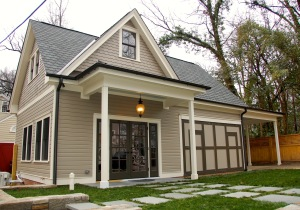 Newly-built garage for the Bassett House, a local landmark in Trinity Park